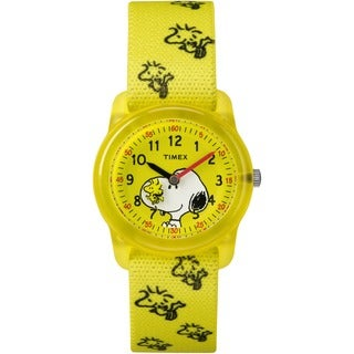 Timex Kids TW2R41500 Time Machines x Peanuts: Yellow Woodstock & Snoopy Fabric Strap Watch