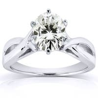 Annello by Kobelli 14k White Gold 7/8ct Moissanite (HI) (H-I) Solitaire Oval Crossover Split Shank Engagement Ring