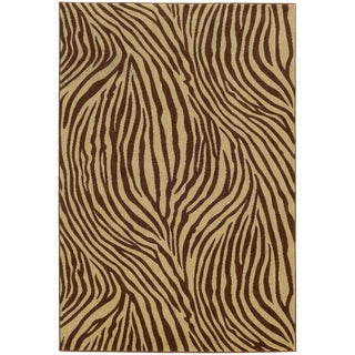 Style Haven Zebra Stripes Beige Indoor/Outdoor Area Rug (9'10 x 12'10)