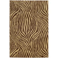 Style Haven Zebra Stripes Beige Indoor/Outdoor Area Rug - 9'10 x 12'10