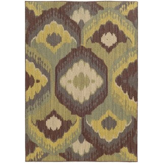 Style Haven Floating Lotus Brown Indoor/Outdoor Area Rug (9'10 x 12'10)