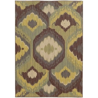 "Style Haven Floating Lotus Brown Indoor/Outdoor Area Rug (9'10 x 12'10) - 9'10"" x 12'10"""