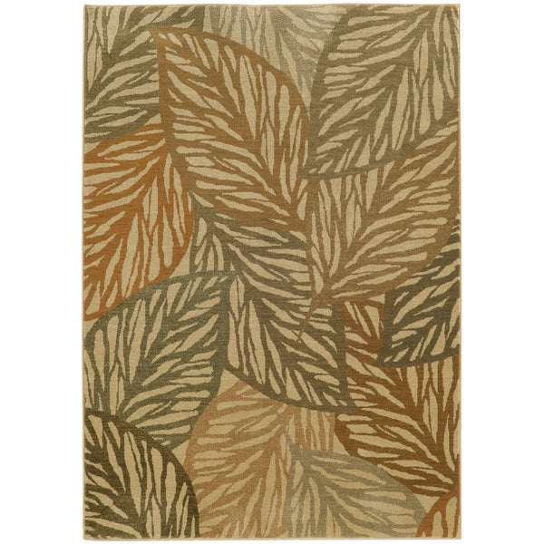 Style Haven Beige Polypropylene Indoor/Outdoor Tropical Leaves Area Rug - 9'10 x 12'10