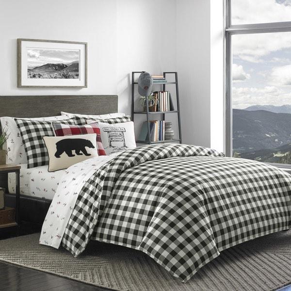 Shop Eddie Bauer Black White Mountain Plaid Comforter Set - On Sale ... a0fffdae2