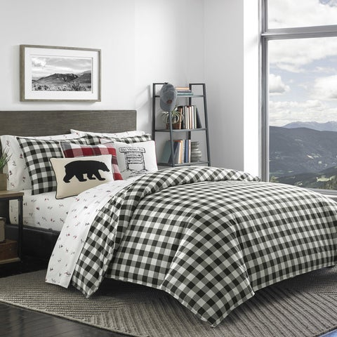 Eddie Bauer Black/White Mountain Plaid Comforter Set
