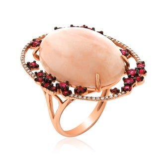 14k Rose Gold Women's Fancy Pink Opal Sapphire Diamond RIng SIze 7