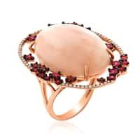 14k Rose Gold Women's Fancy Pink Opal Sapphire Diamond RIng SIze 7