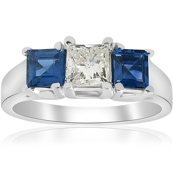 2ct Round Cut Blue Sapphire Five Stone Halo Engagement Ring 14ct White Gold Over