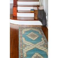 Fatima Blue/ Teal Runner Rug (2'6 x 8')