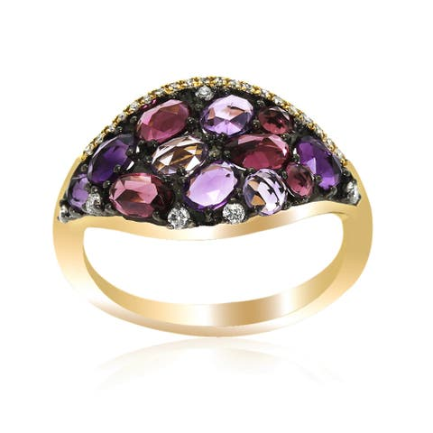14k Yellow Gold Women's Fancy Tourmaline Amthyst Gemstone Diamond RIng SIze 7
