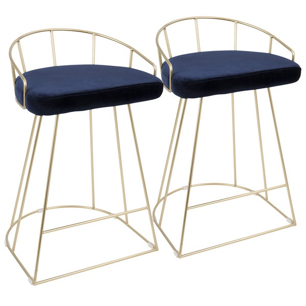 Canary Contemporary Counter Stool in Gold and Velvet (Set of 2)