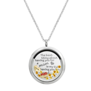 Queenberry The Best Thing About Having You For a Mom is My Kids ... Grandma Floating Locket Crystals Charm Necklace Pendant