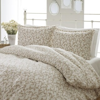 Laura Ashley Victoria Flannel Beige Comforter Set