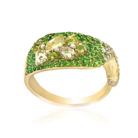 14k Yellow Gold Women's Fancy Multi - Gemstone Diamond RIng SIze 7
