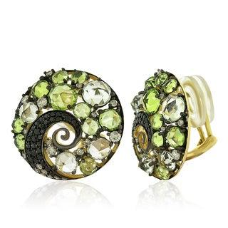 14k Yellow Gold Women's Fancy Amethyst Perodite Gemstone Diamond Earrings