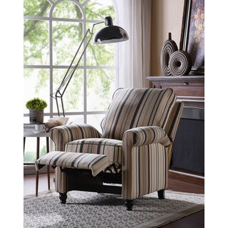 Copper Grove Lassen Brown/ Black Stripe Push Back Recliner Chair