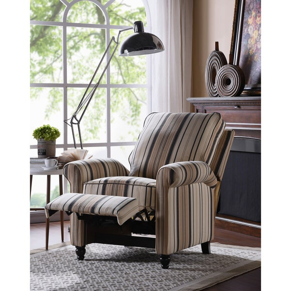ProLounger Brown/Black Stripe Push Back Recliner Chair