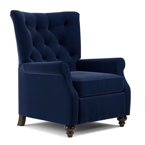 Amazing ProLounger Navy Blue Velvet Push Back Recliner Chair