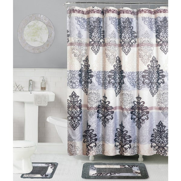 RT Designers Collection 15-Piece Shower Curtain and Bath Mat Set