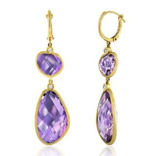 14k Yellow Gold Women's Fancy Amethyst Sapphire Gemstone Dangling Earrings