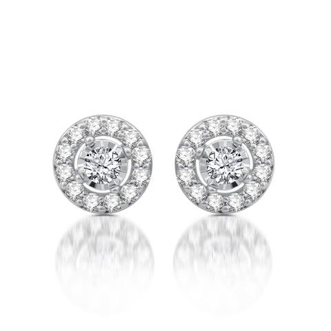 3/4 CTTW Diamond Frame Stud Earrings in 10K White Gold (I-J, I2)