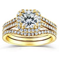 Annello by Kobelli 14k Yellow Gold 1 4/5ct TGW Moissanite and Diamond Bridal Rings 3-pc Set