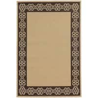 "Style Haven Beige/ Brown Scroll Border Indoor/ Outdoor Area Rug (8'6 x 13') - 8'6"" x 13'"