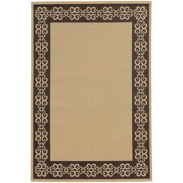 Style Haven Beige/ Brown Scroll Border Indoor/ Outdoor Area Rug - 8'6 x 13'