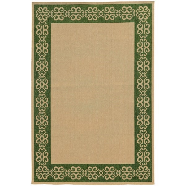 Style Haven Scrollwork Border Beige/ Green Indoor/ Outdoor Area Rug (8'6 x 13') - 8'6 x 13'