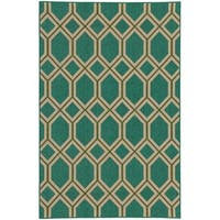 "Style Haven Green Polypropylene Geometric Lattice Indoor/ Outdoor Area Rug (8'6 x 13') - 8'6"" x 13'"