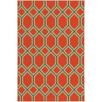 "Style Haven Geometric Lattice Orange Indoor/ Outdoor Area Rug (8'6 x 13') - 8'6"" x 13'"