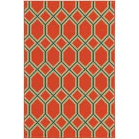 Style Haven Geometric Lattice Orange Indoor/ Outdoor Area Rug - 8'6 x 13'