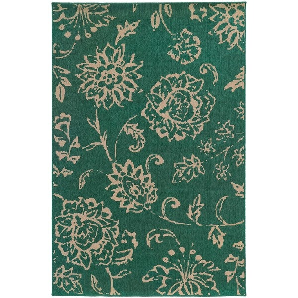 Style Haven Floral Impressions Teal Indoor/Outdoor Area Rug - 8'6 x 13'