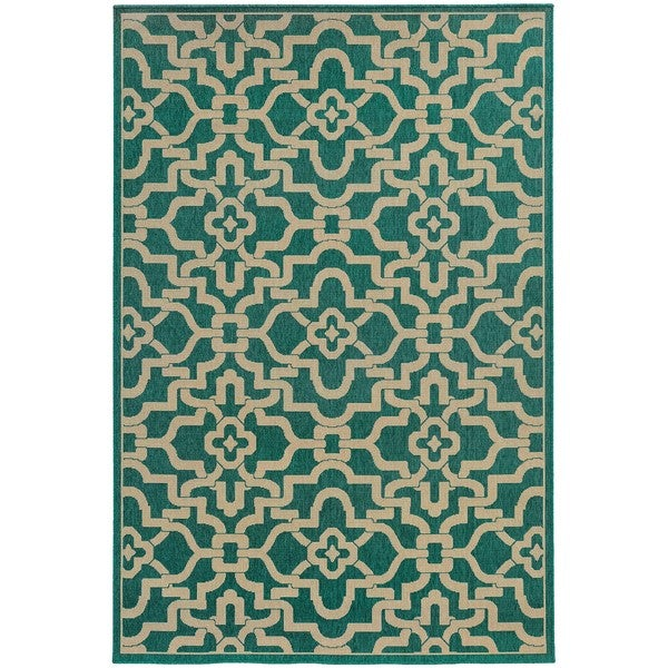 "Intricate Lattice Indoor/Outdoor Area Rug (8'6 x 13') - 8'6"" x 13'"