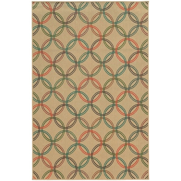 Style Haven Interlocking Circles Beige Indoor/Outdoor Area Rug (8'6 x 13') - 8'6 x 13'