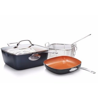 Gotham Steel Deep Square and Square Shallow 5 Piece Cookware Set Nonstick Copper
