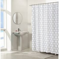 Ruthy's Textile GEO Flocked Sheer Shower Curtain