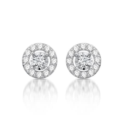 1 CTTW Diamond Frame Stud Earrings in 10K White Gold (I-J, I2)
