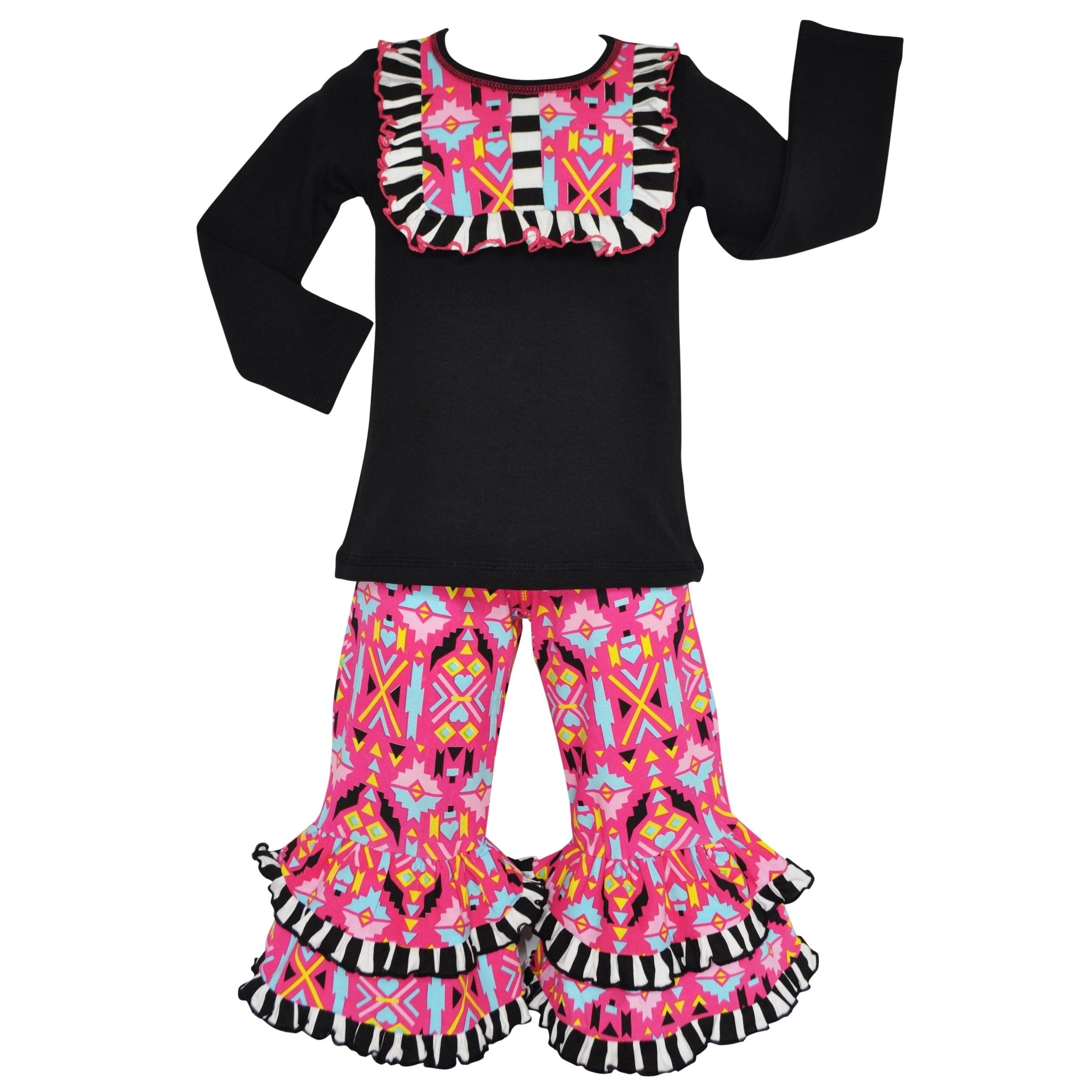 AnnLoren AnnLoren Girls Hot Pink Winter Aztec Tunic and P...