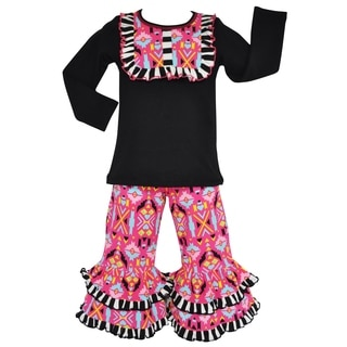 AnnLoren Girls Hot Pink Winter Aztec Tunic and Pants Outfit