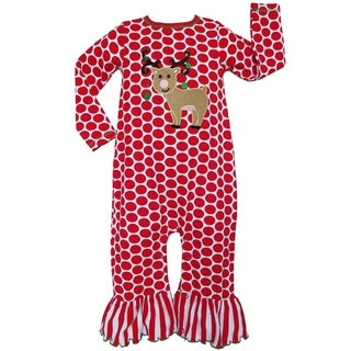 AnnLoren Baby Girls Christmas Red Polka Dot Reindeer Romper