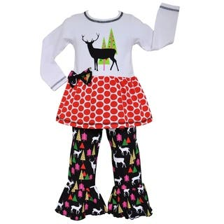 AnnLoren Girls Reindeer & Christmas Tree Tunic & Pant Set|https://ak1.ostkcdn.com/images/products/16753548/P23063819.jpg?impolicy=medium