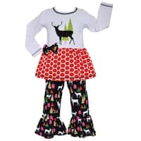 AnnLoren Girls Reindeer & Christmas Tree Tunic & Pant Set