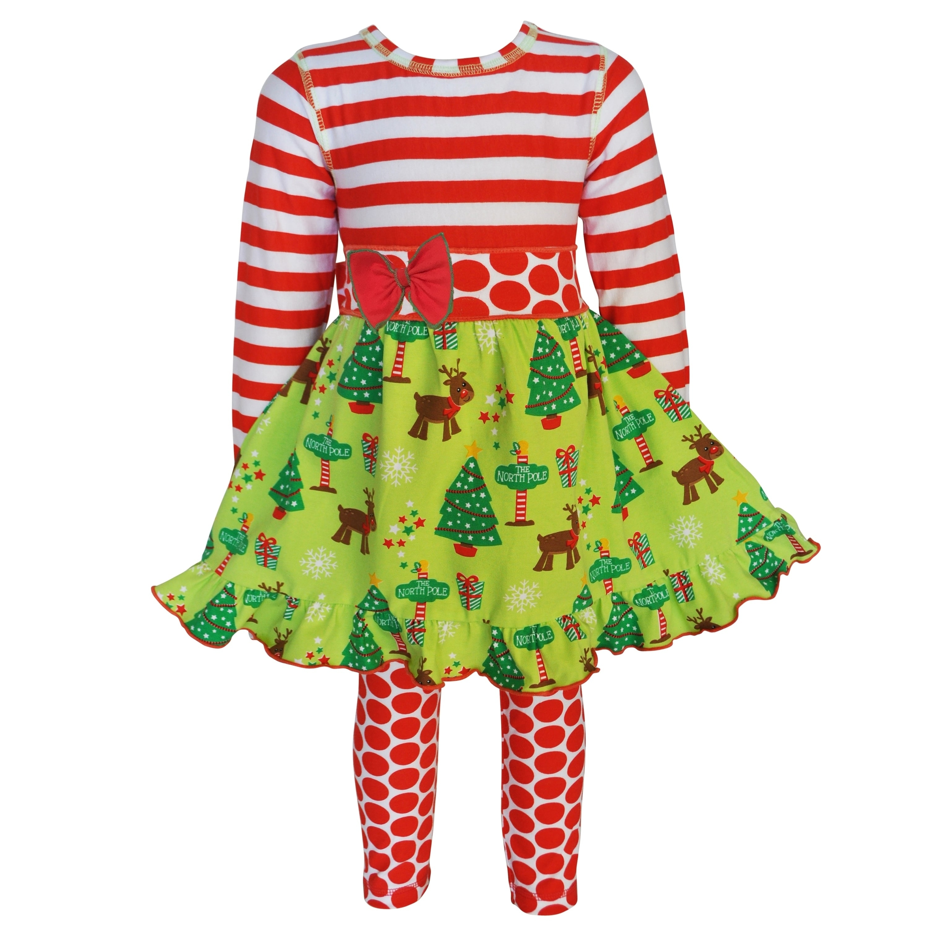 AnnLoren AnnLoren Girls Christmas Dress with Red Polka Do...