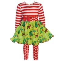 AnnLoren Girls Christmas Dress with Red Polka Dot Legging Set