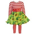 AnnLoren Girls Christmas Dress with Red Polka Dot Legging Set