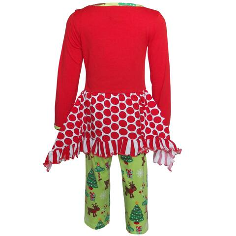AnnLoren Girls Christmas Reindeer Polka Dot Tunic Holiday Legging Set