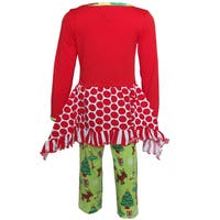 AnnLoren Girls Christmas Reindeer Tunic and Holiday Legging Set
