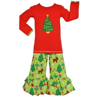 AnnLoren Girls Christmas Tree Tunic and Pants Outfit
