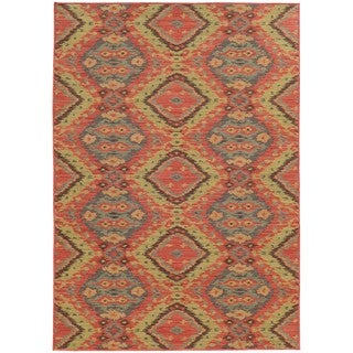 Style Haven Tribal Ikat Pink/Blue Indoor and Outdoor Area Rug - 5'3 x 7'6